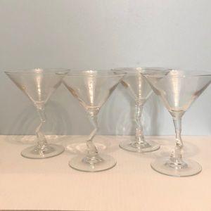 Other - 4 Vintage z stem martini glasses in original box